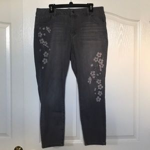 Women's Grey Embroidered Jeans